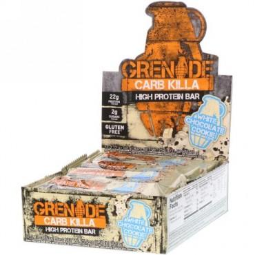 Grenade, Carb Killa, High Protein Bar, White Chocolate Cookie, 12 Bars, 2.12 oz (60 g) Each