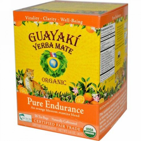 Guayaki, Yerba Mate, Organic Pure Endurance, 16 Tea Bags, 1.41 oz (40 g) (Discontinued Item)