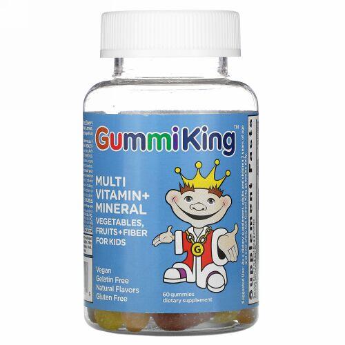 GummiKing, マルチビタミン&ミネラル、野菜・果物・繊維、子供用、60グミ