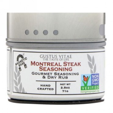 Gustus Vitae, 薬味、モントリオールステーキ調味料、2.5 oz (71 g) (Discontinued Item)