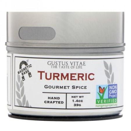 Gustus Vitae, グルメスパイス、ターメリック、1.4 oz (39 g) (Discontinued Item)