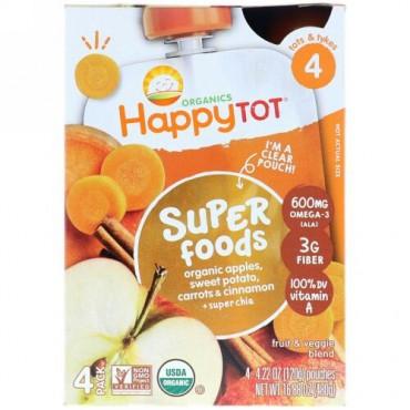 Happy Family Organics, ハッピートット, スーパーフード, オーガニックアップル, スイートポテト, キャロット&シナモン+スーパーチア, 4個, 各4.22オンス (120 g) (Discontinued Item)
