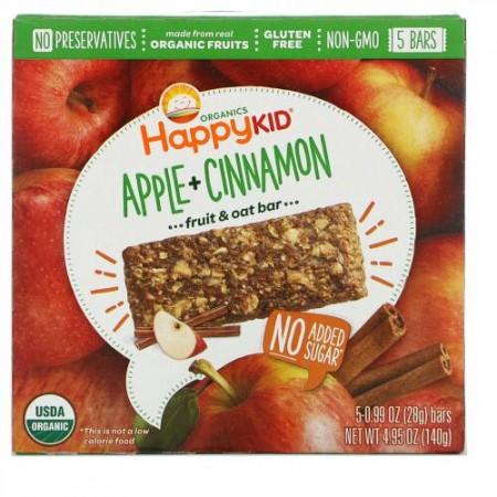 Happy Family Organics, ハッピーキッド、アップル+シナモン、フルーツ&オーツーバー、5本、各0.99 oz (28 g)