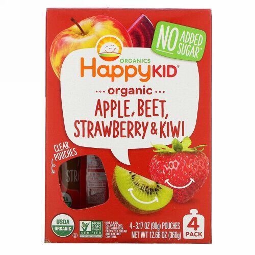 Happy Family Organics, Happy Kid, Organic Apple, Beet, Strawberry & Kiwi, 4 Pouches, 3.17 oz (90 g) Each