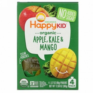 Happy Family Organics, Happy Kid, Organic Apple, Kale & Mango, 4 Pouches, 3.17 oz (90 g) Each
