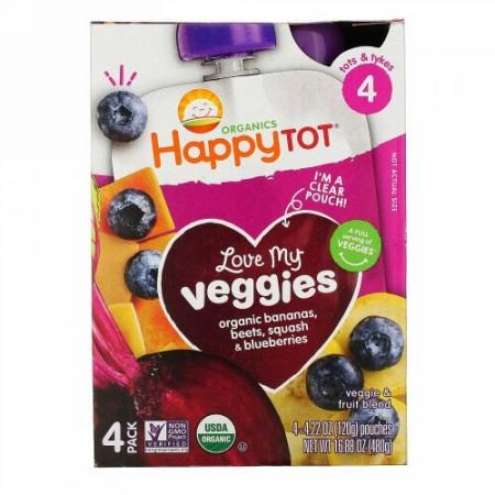 Happy Family Organics, Happy Tot,  Stage 4, Love My Veggies, Organic Bananas, Beet, Squash & Blueberries, 4 Pouches, 4.22 oz (120 g) Each