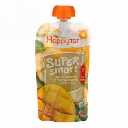 Happy Family Organics, Happy Tot, Super Smart, Fruit & Veggie Blend, Stage 4, Organic Bananas, Mangos & Spinach + Coconut Milk, 4 oz (113 g)