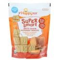 Happy Family Organics, ハッピートット、スーパースマート、マルチグレインアルファベットスナック、オーガニックシナモンスイートポテト +フラックスシード、4.4オンス (125 g) (Discontinued Item)