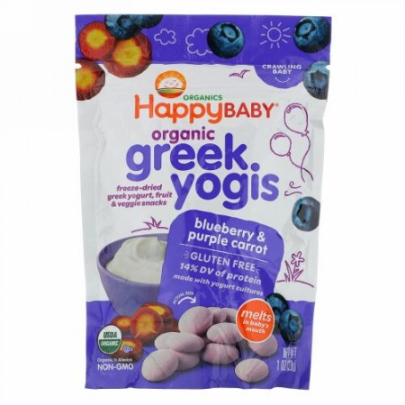 Happy Family Organics, happyyogis、Greek Yogurt、ブルーベリー& パープルキャロット、1オンス (28 g)