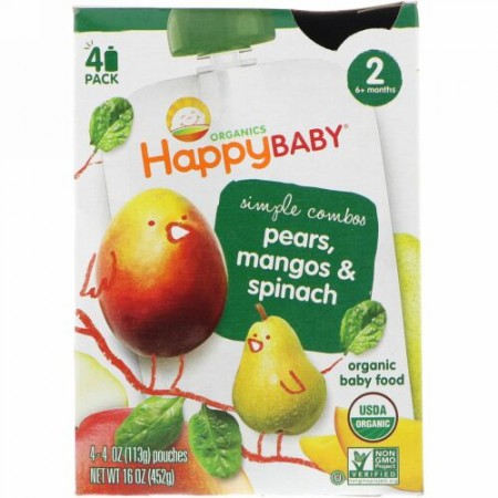 Happy Family Organics, Organic Baby Food, Pears, Mangos & Spinach, Stage 2, 6+ Months, 4 Pack - 4 oz (113 g) Each (Discontinued Item)