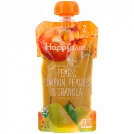 Happy Family Organics, Organic Baby Food, Stage 2, Clearly Crafted   6+ Months, Pears, Pumpkin, Peaches & Granola, 4 oz (113 g)