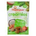 Happy Family Organics, Organic Creamies, Freeze-Dried Veggie, Fruit & Coconut Milk Snacks, Apple, Spinach, Pea & Kiwi, 1oz(28g)
