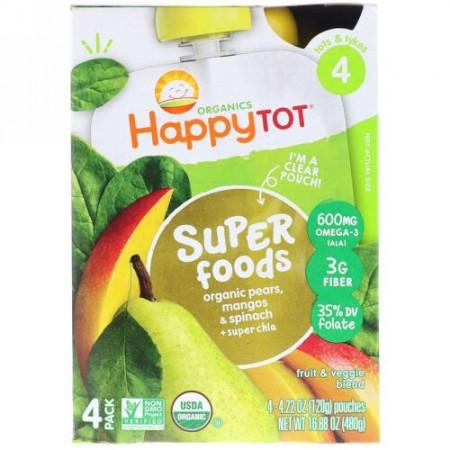 Happy Family Organics, オーガニックハッピートット, スーパーフード, オーガニックペア, マンゴ&スピナッチ+スーパーチア, ステージ4, 4パック, 各4.22オンス (120 g) (Discontinued Item)