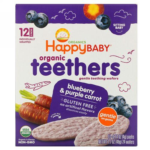 Happy Family Organics, オーガニックティーザー、ジェントルティーシングウエハース、お座りができる赤ちゃん用、ブルーベリーと紫ニンジン、12パック、各4 g