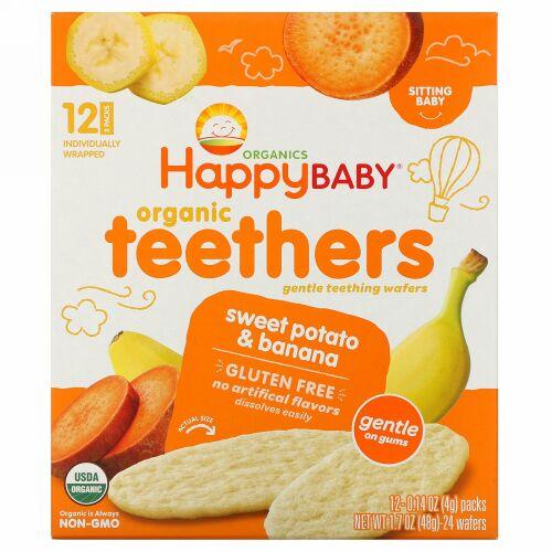 Happy Family Organics, オーガニックティーザー、ジェントルティーシングウエハース、お座りができる赤ちゃん用、サツマイモとバナナ、12パック、各4 g