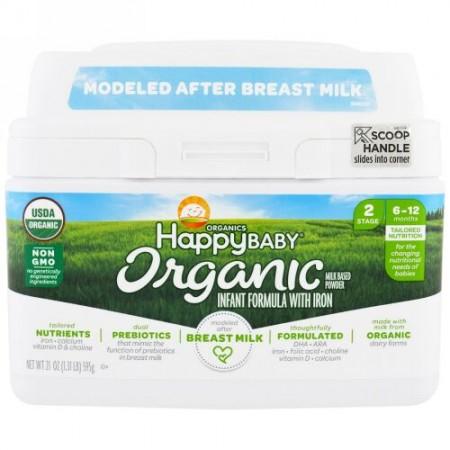 Happy Family Organics, オーガニックス ハッピー ベビー、鉄分入り乳幼児用フォーミュラ、ステージ2、6~12か月、21 oz (595 g)