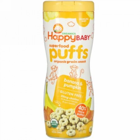 Happy Family Organics, スーパーフードパフ、オーガニック穀物スナック、バナナ&カボチャ、60g(2.1オンス)