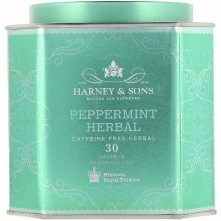 Harney & Sons, ペパーミントハーブ、カフェインフリーハーブ、30袋、1.9 oz (54 g)
