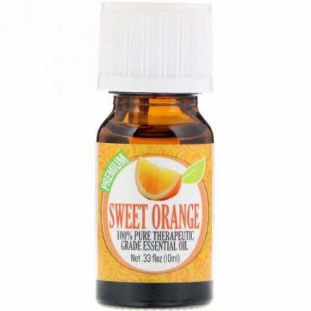 Healing Solutions, 100%ピュアセラピーグレードエッセンシャルオイル、スウィートオレンジ、0.33 fl oz (10 ml) (Discontinued Item)