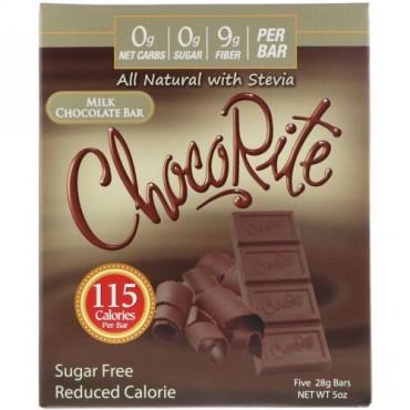HealthSmart Foods, チョコレート、ミルクチョコレートバー、無糖、5本、各28 g (Discontinued Item)