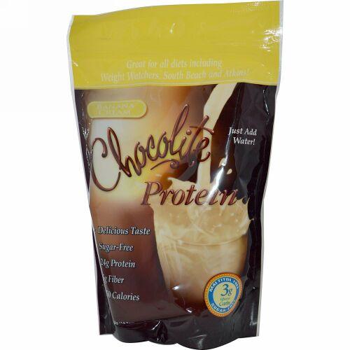 HealthSmart Foods, Chocolite Protein, バナナクリーム, 14.7オンス(418 g) (Discontinued Item)