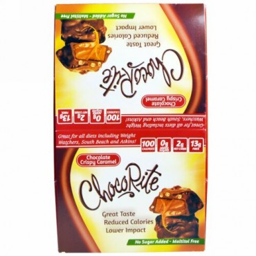 HealthSmart Foods, チョコライト、 チョコレートクリスピーキャラメル、 16個、 1.13 oz (32 g) (Discontinued Item)