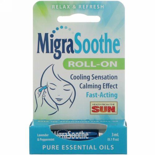 Health From The Sun, MigraSootheロールオン、ラベンダー&ペパーミント、ロールスティック1本、0.1液量オンス (3 ml)
