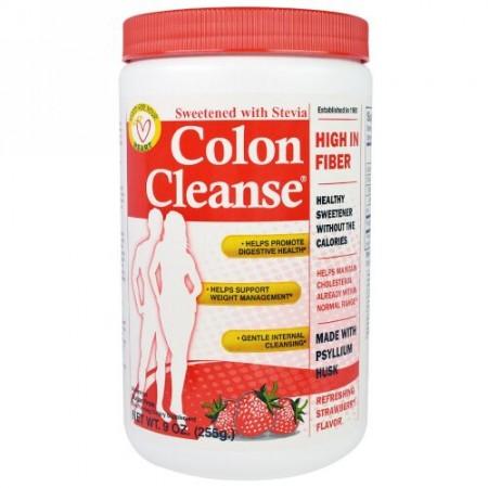 Health Plus, コロンクレンズ, ステビア甘味料, ストロベリー味, 9オンス (255 g) (Discontinued Item)