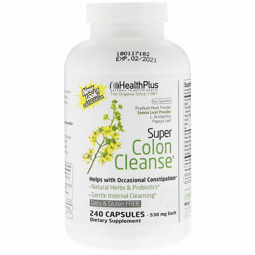 Health Plus, Super Colon Cleanse、500 mg、240カプセル
