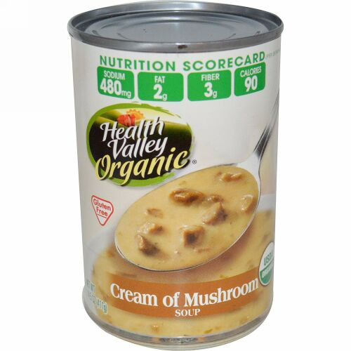 Health Valley, オーガニック、クリーム of マッシュルーム スープ、 グルテンフリー、 14.5 oz (411 g) (Discontinued Item)
