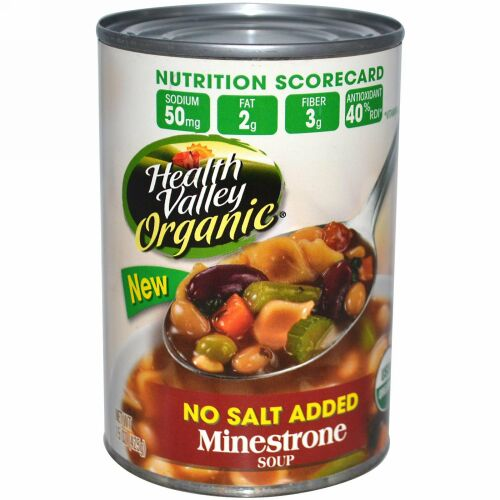 Health Valley, オーガニック、 ミネストローネスープ、 無塩、 15 oz (425 g) (Discontinued Item)