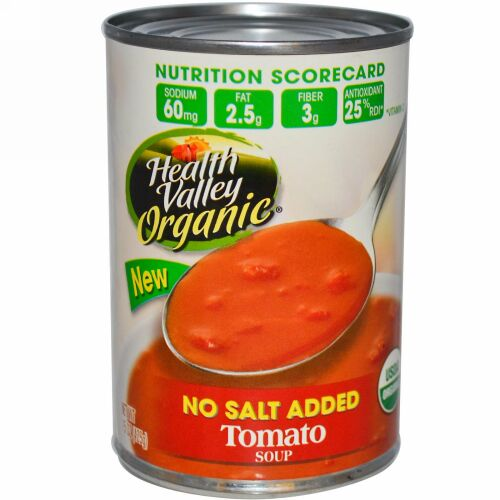 Health Valley, オーガニック、 トマト スープ、 無塩、 15 oz (425 g) (Discontinued Item)