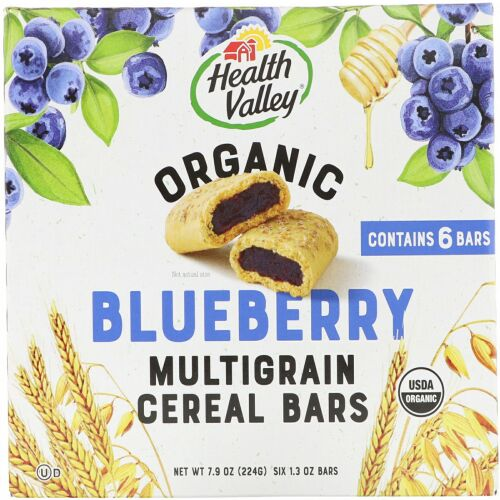 Health Valley, Organic Multigrain Cereal Bars, Blueberry, 6 Bars, 1.3 oz (37 g) Each (Discontinued Item)