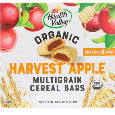 Health Valley, Organic Multigrain Cereal Bars, Harvest Apple, 6 Bars, 1.3 oz Each (Discontinued Item)