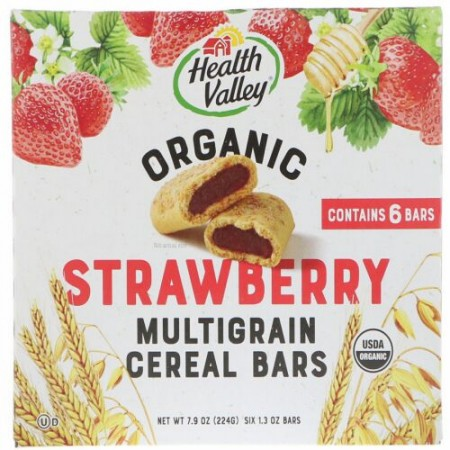 Health Valley, Organic Multigrain Cereal Bars, Strawberry, 6 Bars, 1.3 oz (37 g) Each (Discontinued Item)