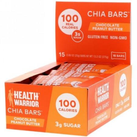 Health Warrior, チアバー、チョコレートピーナッツバター、15本、13.2オンス(375 g) (Discontinued Item)