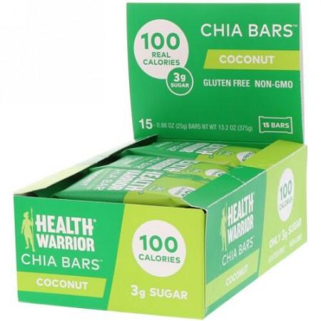 Health Warrior, チアバー、ココナッツ、15本、13.2オンス(375g) (Discontinued Item)