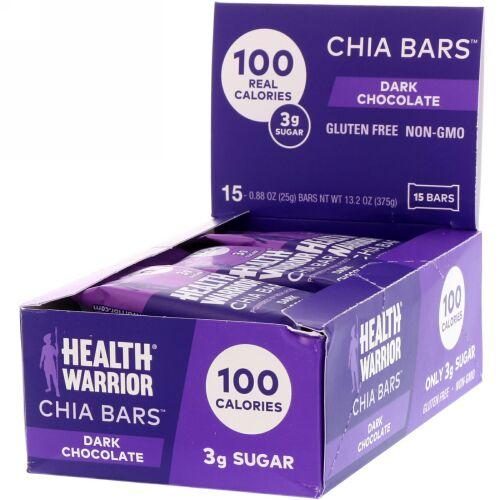 Health Warrior, チアバー、ダークチョコレート味、15本入り、各0.88オンス (25 g)  (Discontinued Item)