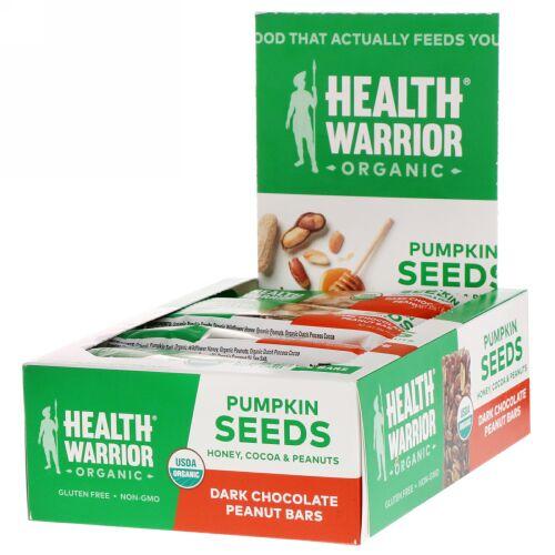 Health Warrior, カボチャの種、ダークチョコレートピーナッツ、12本、14.8 oz (420 g) (Discontinued Item)