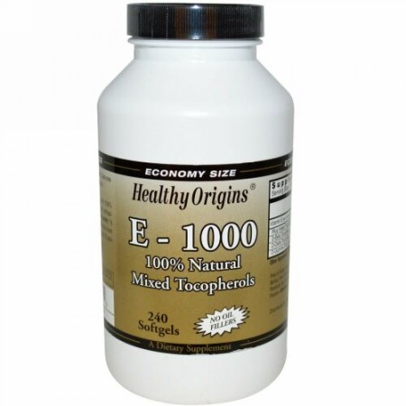 Healthy Origins, E-1000, 100% 自然混合トコフェロール, 240 ソフトジェル (Discontinued Item)