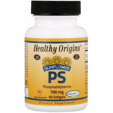 Healthy Origins, Sunflower PS Phosphatidylserine, 100 mg , 60 Softgels (Discontinued Item)
