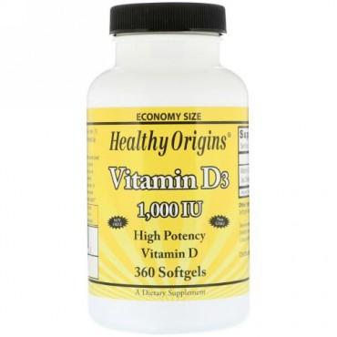Healthy Origins, ビタミンD3、1000 IU、360ソフトジェル (Discontinued Item)