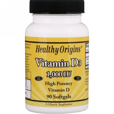 Healthy Origins, ビタミンD3、1000 IU、ソフトジェル90個 (Discontinued Item)