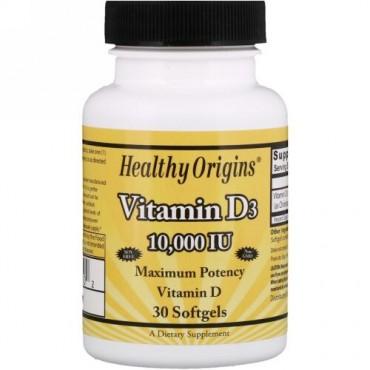 Healthy Origins, ビタミンD3、10,000 IU、ソフトジェル30錠 (Discontinued Item)