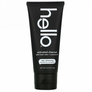 Hello, Fluoride Free Whitening Toothpaste, Activated Charcoal with Fresh Mint + Coconut Oil, 4 oz (113 g)