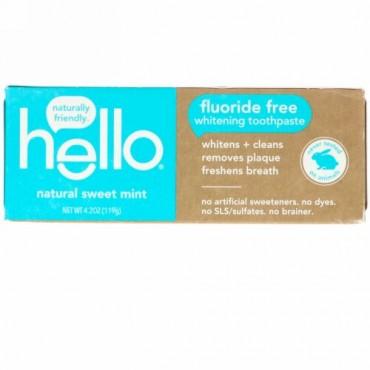Hello, フッ化物フリーホワイトニング練り歯磨き、ナチュラルスイートミント、4.2オンス (119 g) (Discontinued Item)