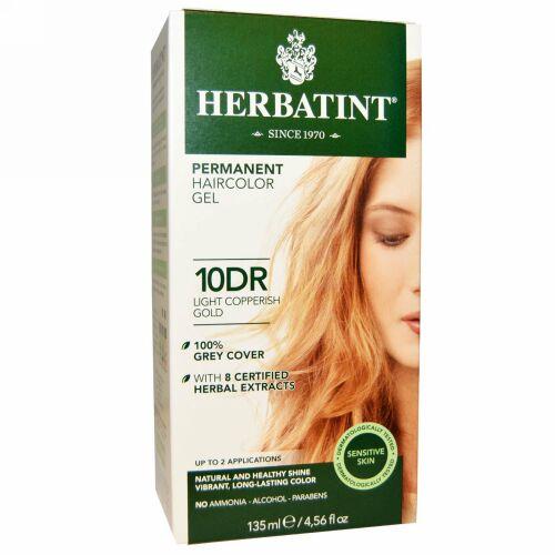 Herbatint, パーマネントへアカラージェル(Permanent Haircolor Gel), 10DR, 薄い銅色がかった金(Light Copperish Gold), 4.56液量オンス(135 ml) (Discontinued Item)