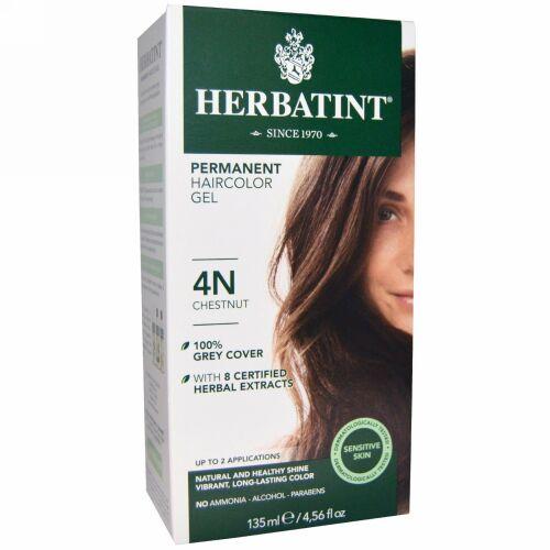 Herbatint, Permanent Herbal Haircolor Gel、4N、栗色、4.56液量オンス(135 ml)