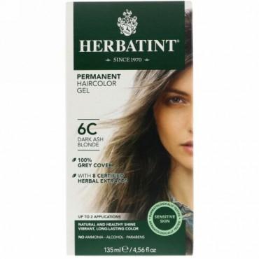 Herbatint, パーマネントヘアカラージェル、6C、ダークアッシュブロンド、135ml(4.56fl oz)