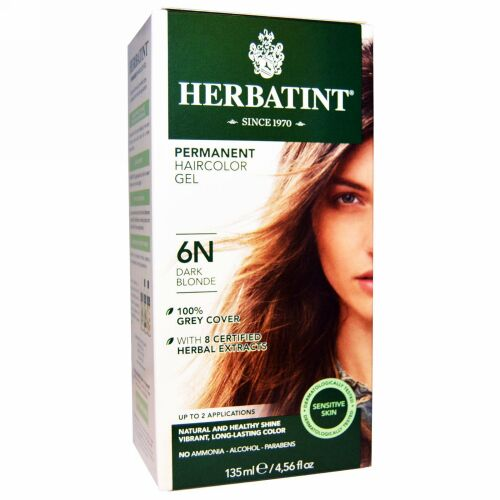 Herbatint, パーマネント ハーブヘアカラージェル(Permanent Herbal Haircolor Gel), 6N, ダークブロンド, 4.56液量オンス(135 ml)